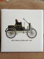 """Car Trivet Tile 6"""" Antique old First Packard Automobile 1899 Ceramic Cushion Vtg"""