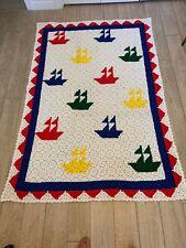 New listing Vintage Sailboat Afaghan Blanket White & Blue