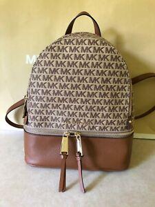 NWT Michael Kors Rhea Zip Medium Signature Logo Jacquard Backpack