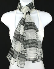 Piano Key Notes Womens Scarf Black White Keys Gift Her Scarfs Music Scarves New