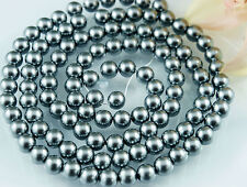 110pcs Beads 8mm Dark Grey Color Imitation Acrylic Loose Round Pearl Spacer