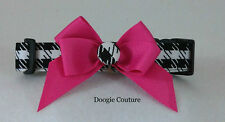 Limited Edition Houndstooth Pink Bow Dog Collar Size XS-L by Doogie Couture