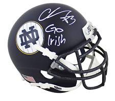 "Notre Dame Chase Claypool ""Go Irish"" Signed Navy Schutt Mini Helmet BAS Witness"