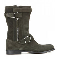 Burberry Grantville Suede Moto Boots Flat Buckle Riding Ankle Booties 37- 6.5