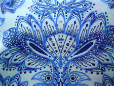 """CYNTHIA ROWLEY Delft Blue and White Medallion Paisley Lace Trim Runner 20x80"""""""