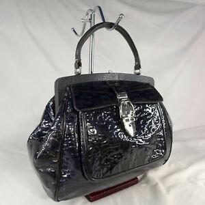 Authentic Gucci Treasure Horsebit Navy Patent Leather Medium Bowling Handbag