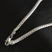 925 Sterling Solid Silver Flat Snake Bone Chain Necklace For Men Women Jewelry