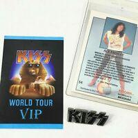 Kiss Vtg Revenge Metal Pin Shade VIP Concert Pass Ace Trading Card 3 Item Lot