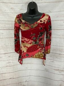 Rave Women's Long Sleeve Top Blouse Floral Red / Beige Size S Small