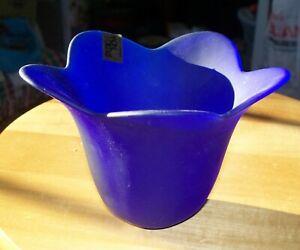 "NEW Studio Nova Tulip Blue Cobalt Frosted Glass 4"" Votive Candleholder Portugal"