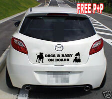CANI e Baby a bordo Divertenti Novità PARAURTI auto lunotto adesivo decalcomania