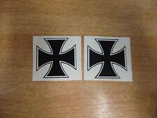 2 De Cruz De Hierro Del stickers/decals - 50 Mm Negro + Blanco