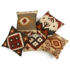 """5 Pcs Kilim Vintage Wool Jute Cushion Cover 18x18"""" Traditional Boho Pillow Sham"""