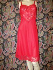 Vintage Lorraine Red Silky Nylon Lacy Slip Nighty Lingerie 38