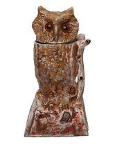 MONEY BANK ANTIQUE /VINTAGE STYLE CAST IRON MECHANICAL WHITE OWL, Turns head BOX