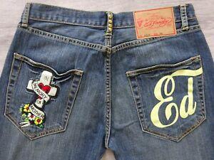 Ed Hardy by Christian Audigier Herren Jeans Stretch Jeanshose Blau 883/520