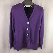 Lady Hathaway Cardigan Sweater Large Purple Women Button Front Wool