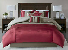 Madison Park Amherst Cal King Bed Comforter 7-Pc Set Bed in A Bag Burgundy Taupe