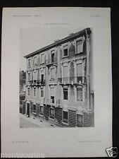 1906 CASA MOTTURA A TORINO STAMPA D'EPOCA ARCHITETTURA EUGENIO MOLLINO D272