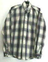 Stetson Men's M Long Sleeve Button Down Dress Casual Shirt Flannel Purple Gray