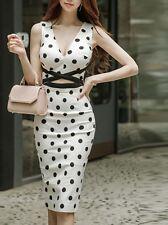 Elegante raffinato vestito abito donna tubino bianco nero pois morbido 3704
