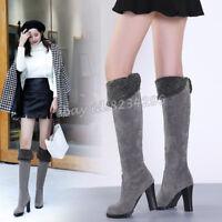 Warm High Heels Stiefel Damenschuhe Winter Kniehoch Stiefel Boots Gr35-48