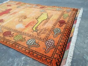 handmade war rug 120x77 cm war rug vegetable dyed Ethnic rug vintage faded color
