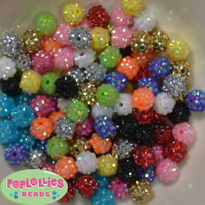 12mm Mixed Color Resin Rhinestone Bubblegum Beads Lot 40 pc.chunky gumball