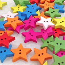 100pcs Multicolor 2 Holes Star Wood Sewing Buttons Scrapbooking 8nk230