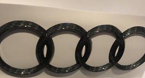 AUDI RINGS Carbon Style REAR BOOT BADGE EMBLEM 178mm X 58mm FITS TT Q A R series