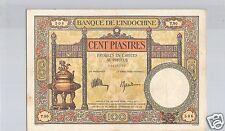 BANQUE DE L'INDOCHINE 100 PIASTRES ND (1925) ALPHABET T.90 PICK 51 C !!!