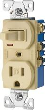 Eaton TR274LA 3-Wire Receptacle Combo Single-Pole Switch w/ Tamper Resistant