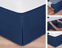 "Easy-to-Use Wraparound Bed Skirt: Tailored, Split Corner Design,14"" Drop, Navy"