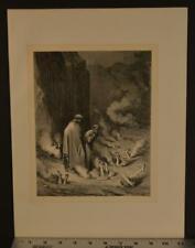 Original Antique 1860's Gustave Dore Engraving Dantes Inferno Hell Torture