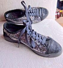 Michael Kors Sz 8.5M Women's  Gunmetal Sequins Lace Up Leather City Sneaker MK