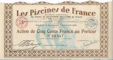 Las Piscinas de Francia acción de la 500 frs 1931 (23347)