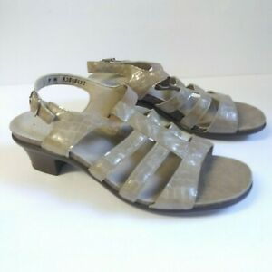 SAS Allegro Beige Open Toe Reptile Patent Leather Heel Strap Comfort Sandals 9M