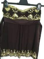 Bay Gold Sequin Embellished Sweetheart Top - Brown/Gold - Size 10