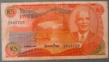 MALAWI 5 KWACHA  NOTE, P 20 a , issued 01.03. 1986