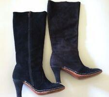 Vintage 70 women boot high heel black suede BOHO hippi white stitch size 6.5 7