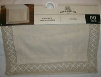 """BEE & WILLOW Home Natural Coutry Farmhouse Crochet Table Runner 90"""" Shabby Chic"""