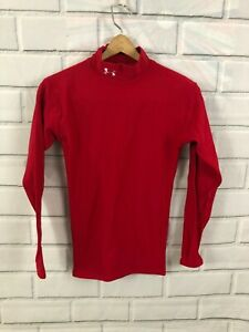 Under Armour Compression Mock Neck Long Sleeve Shirt Red Mens Small