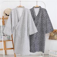 Japanese Vintage Men's Robe Nightwear Kimono Dressing Gown Bathrobe Sleepwear UK