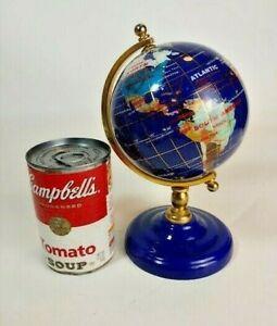 World Globe Semi-precious Gem Stones Blue Desk top