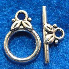50Sets Wholesale Tibetan Silver Round Leaf Toggle Clasps Connectors Hooks Q0969