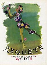 """""""REQUÊTE : PARFUM WORTH"""" Annonce originale entoilée PLAISIR DE FRANCE 1945"""
