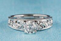 Engagement Art Work Ring 2.6Ct Diamond Minimalist Engrave Ring 14K White Gold