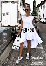 NEU 40 42 44 L-XL-XXL Kleid Longshirt Vokuhila New York Print Volant Weiß Italy
