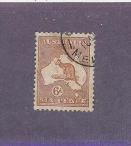 AUSTRALIA (MK6810) # 96  VF-USED 6p 1929-30 KANGAROO & MAP /BROWN CAT VALUE $23