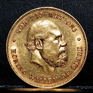 1875 GOLD 10 GULDEN ✪ AU ALMOST UNCIRCULATED ✪ 10G UNC L@@K NOW ◢TRUSTED◣
